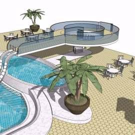热带花园露天游泳池