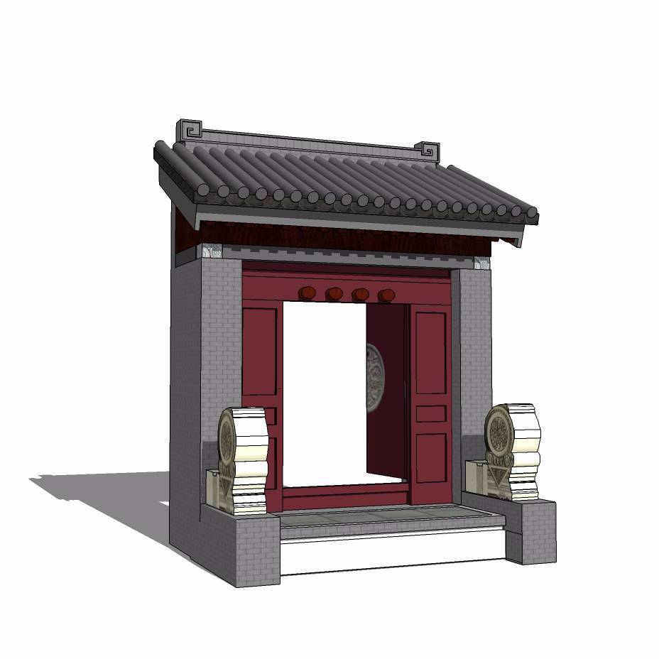 中式入口建筑模型
