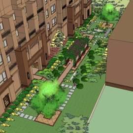景观小区绿化su模型