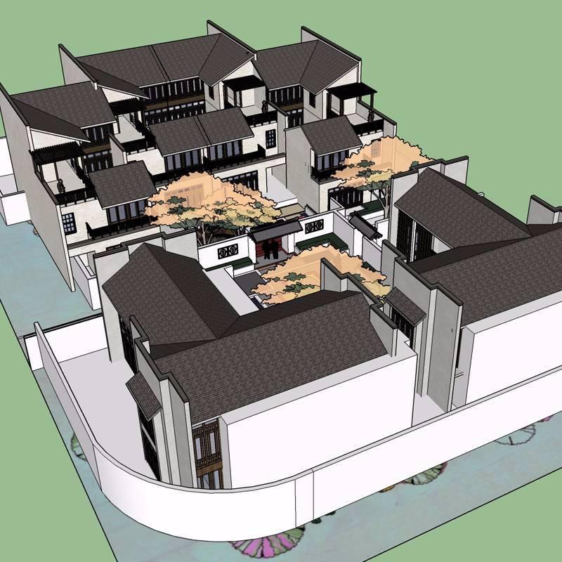 现代中式庭院景观模型