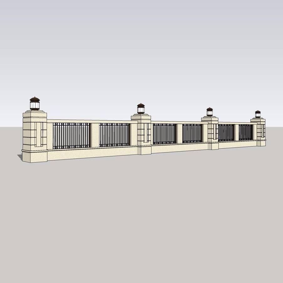 欧式铁艺围墙模型