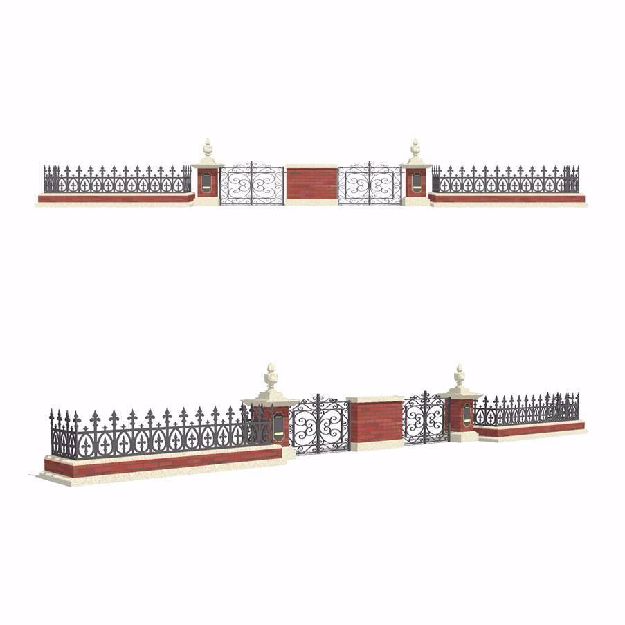 铁艺围墙灯柱模型