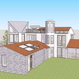 现代田园别墅建筑模型