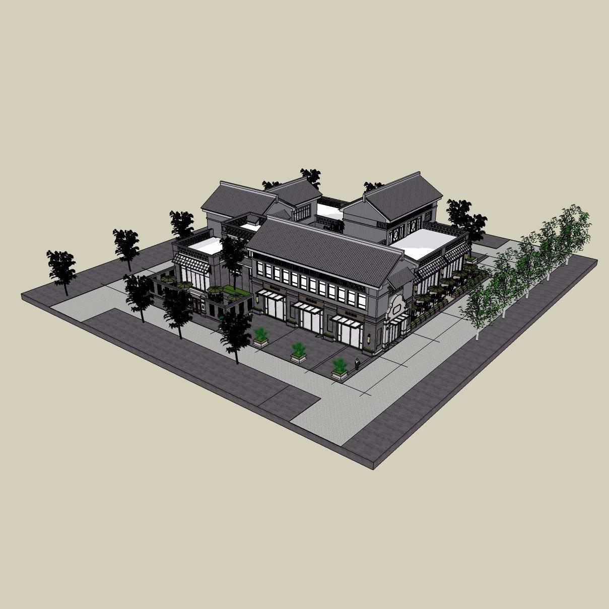 新中式建筑模型设计