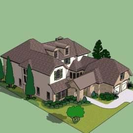 现代欧式田园别墅建筑模型