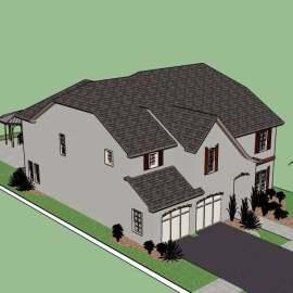 现代欧式别墅建筑模型