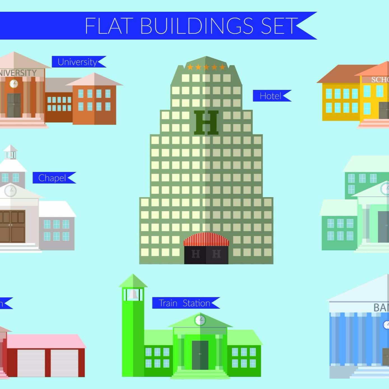 扁平化建筑景观图