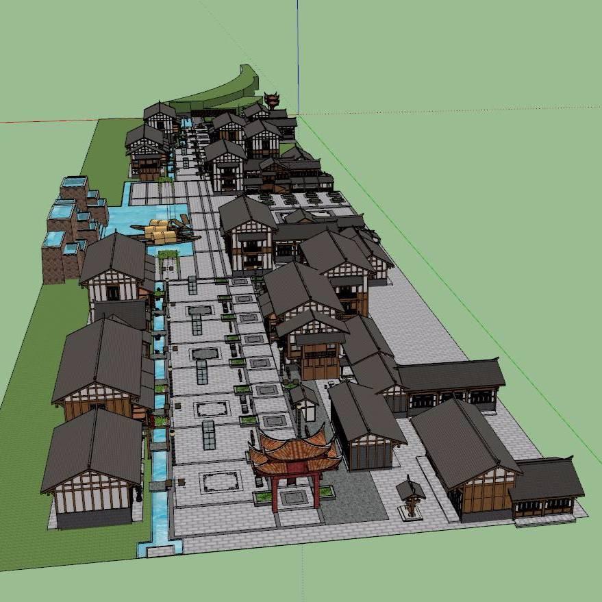 古镇商业街模型