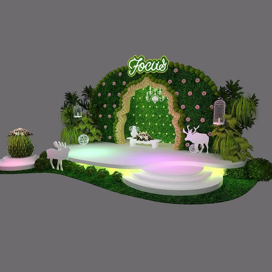清新绿植舞台美陈设计素材
