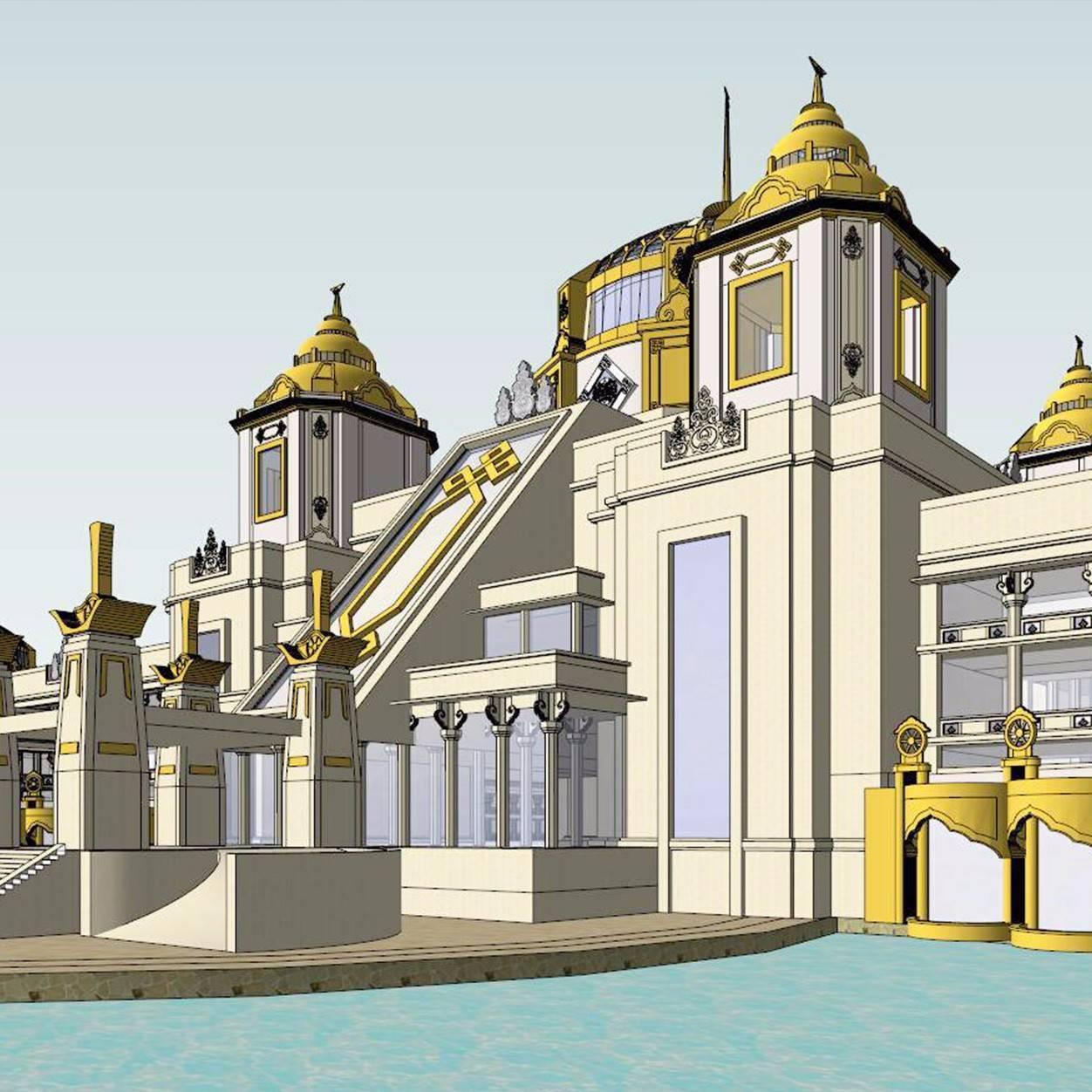 蒙古民族风格4层旅游度假酒店SU模型