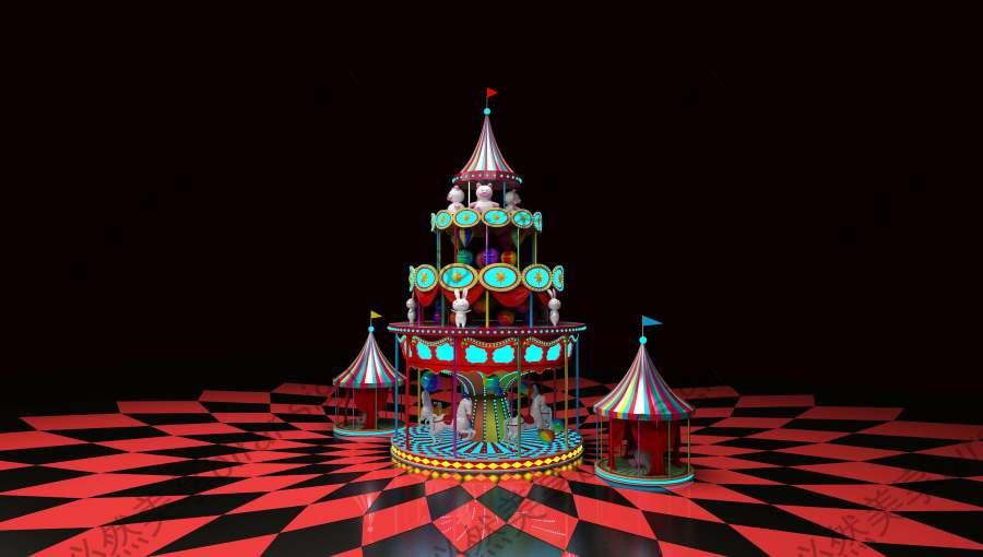 马戏团旋转木马美陈设计模型