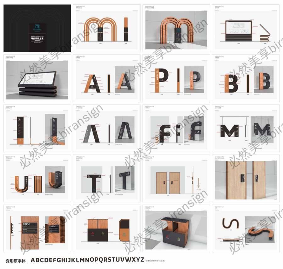 图书馆C4D标识牌创意字母造型导视系统设计模板