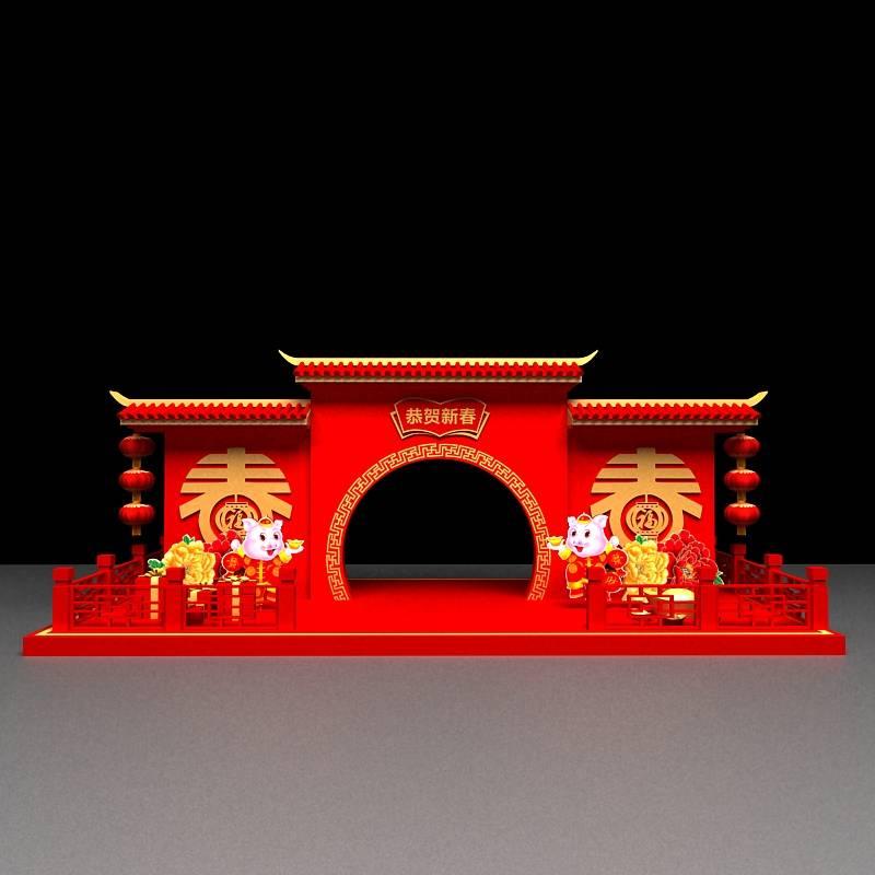 中式建筑新年美陈装饰