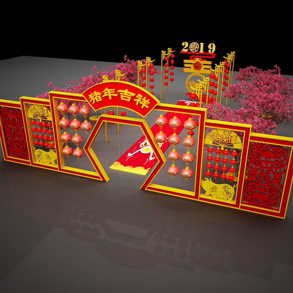 2019春节商场装饰美陈门头布置