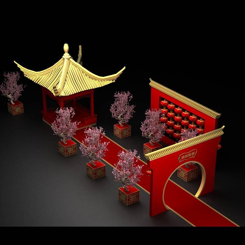 中式凉亭新年美陈设计