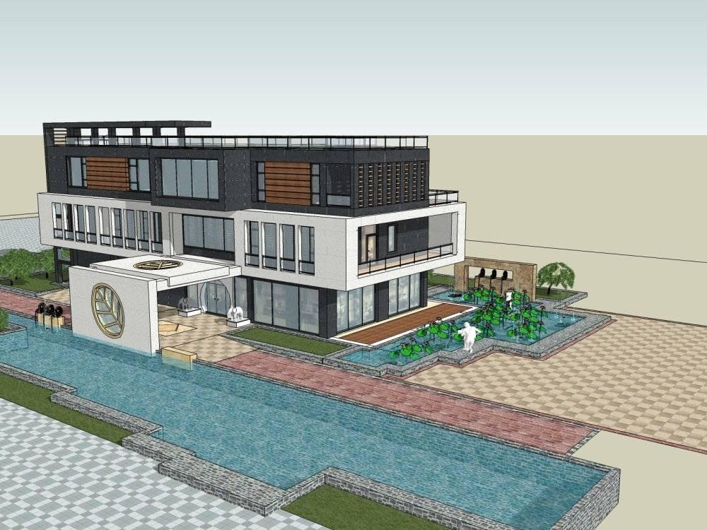 现代主义风格别墅3层会所模型