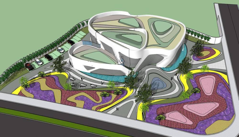现代主义风格2层会所售楼处模型