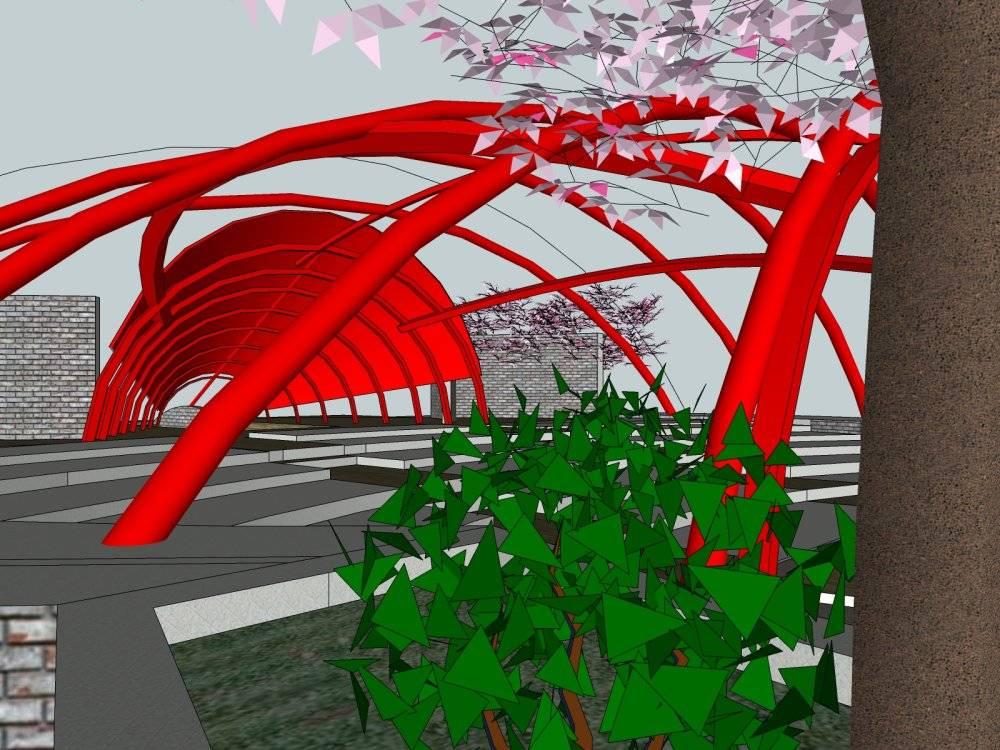 现代主义风格城市剧场模型