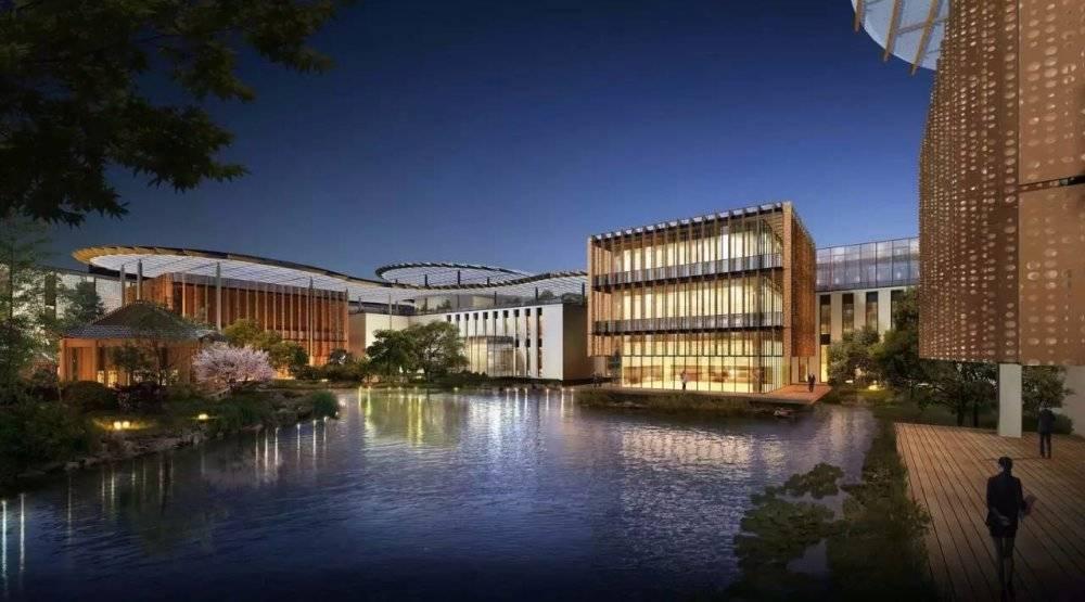 现代主义风格杭州未来科技城湖畔大学校园模型