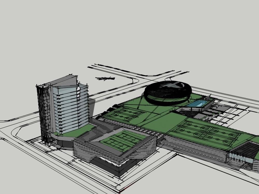 现代主义风格舟山普陀体育中心模型