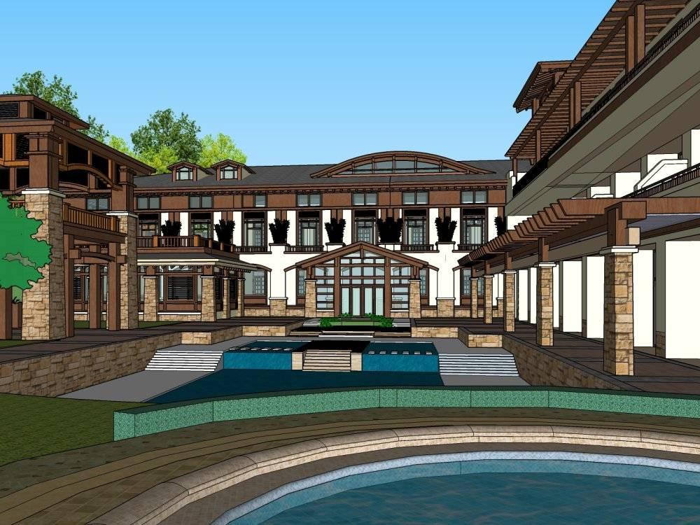 新中式风格3层温泉酒店