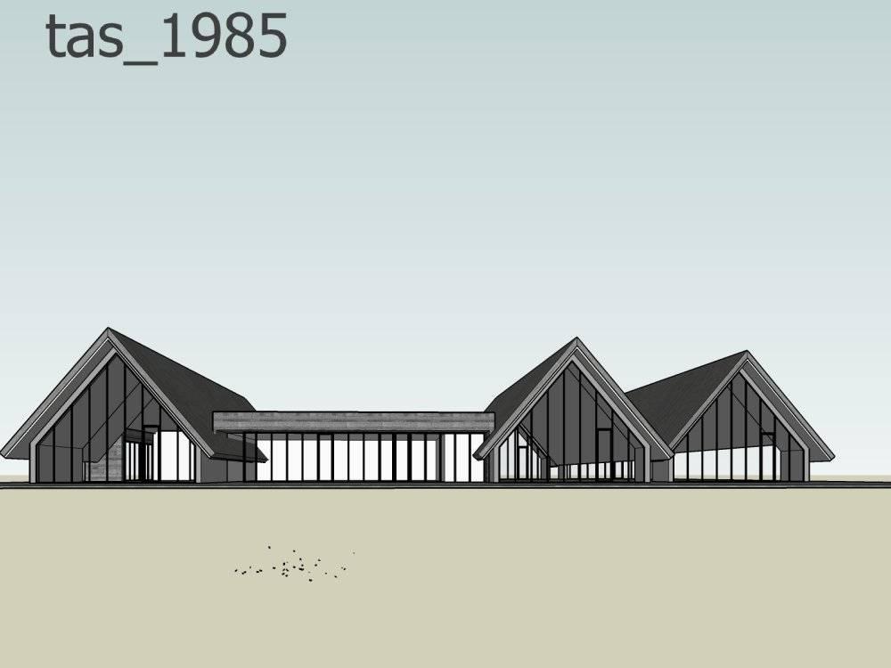 现代主义风格小木屋模型