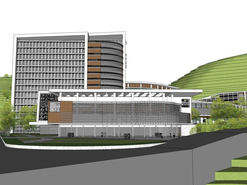 现代主义风格12层县中医院+酒店商业街