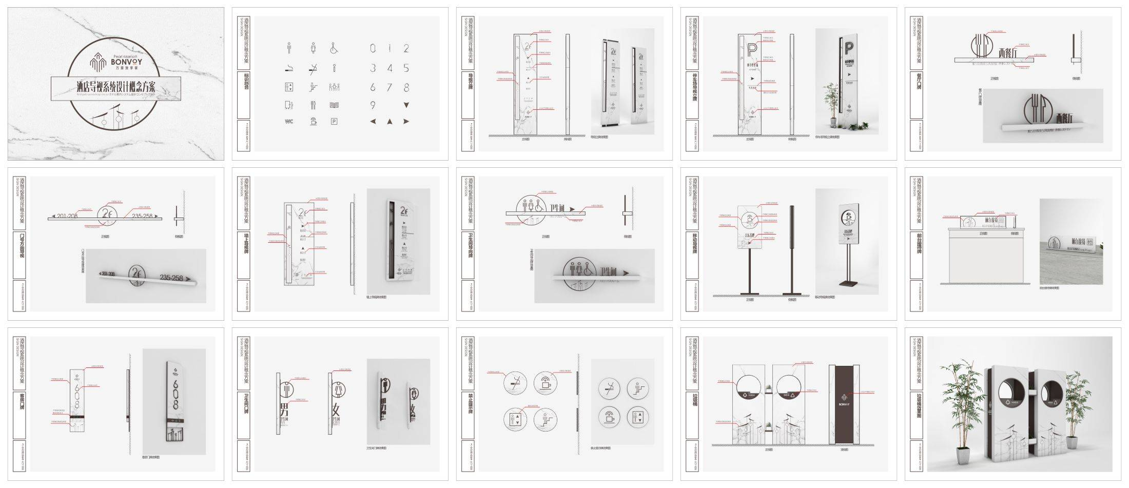 大理石材质时尚现代酒店导视系统设计源文件模板-C4D标识标牌vi