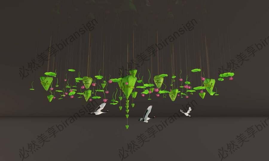 商场端午节粽子中庭美陈吊饰场景布置模型源文件效果图