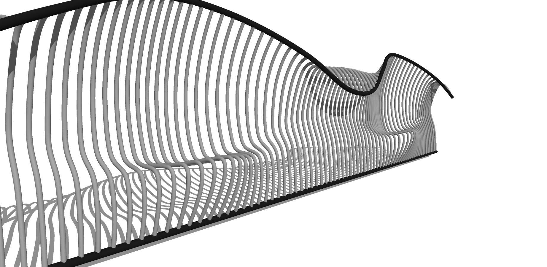 黑色铁艺镂空长凳