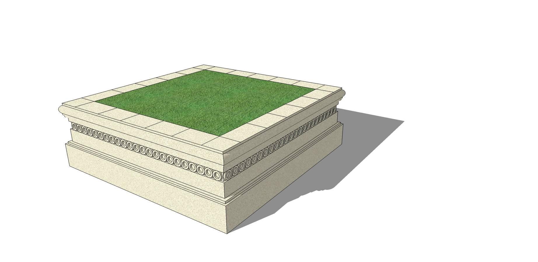 石质矩形长凳树池模型