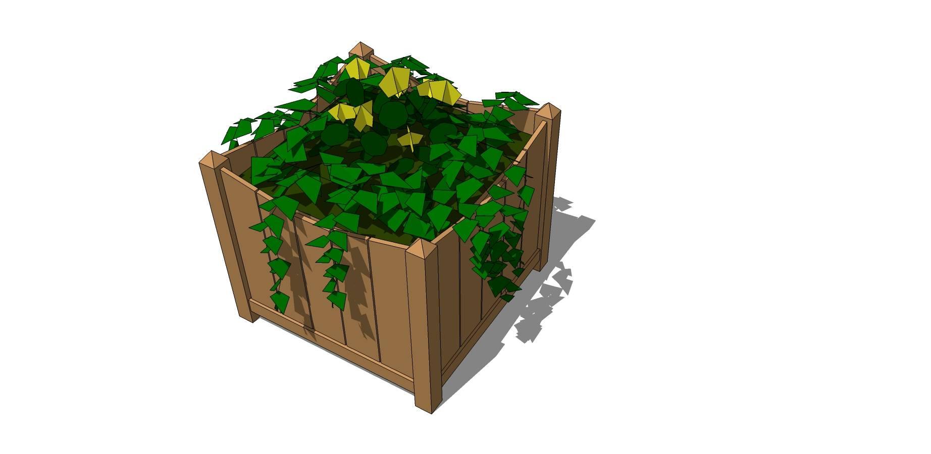 木质矩形花台SU模型