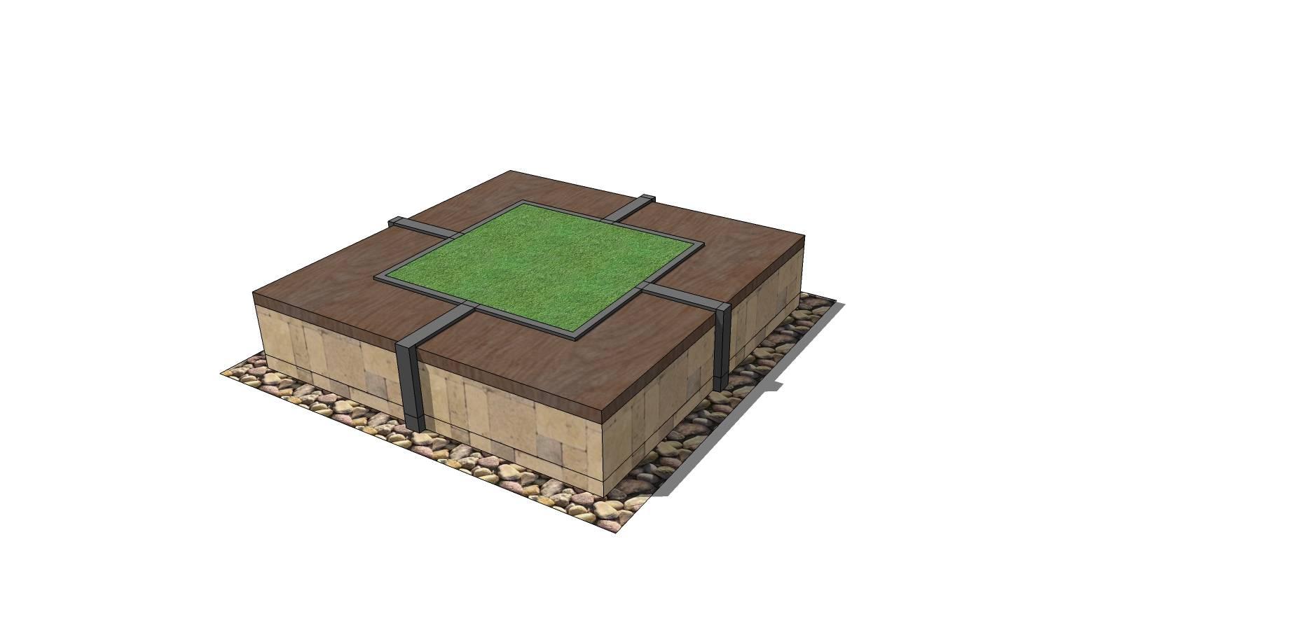 矩形木质树池座椅SU模型