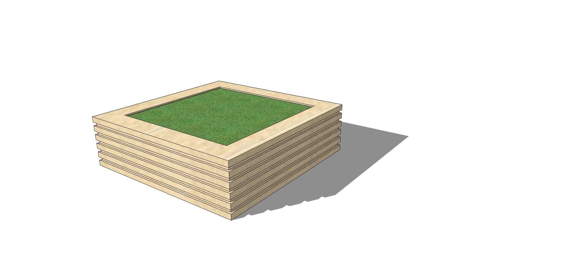 石质矩形线条种植池座椅SU模型