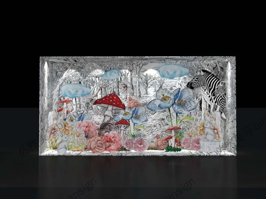 网红手绘风格二维梦幻橱窗