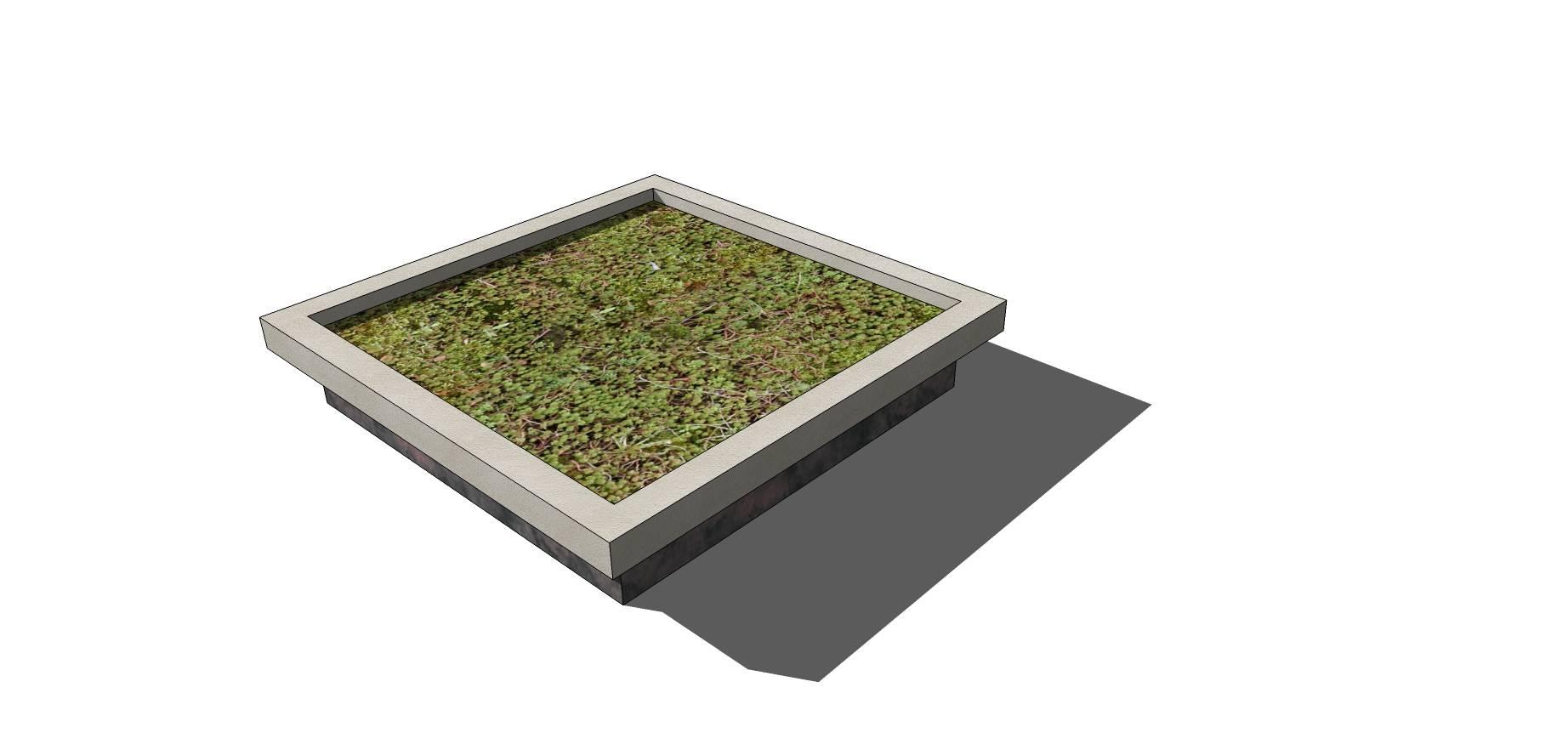 石质矩形简约树池SU模型
