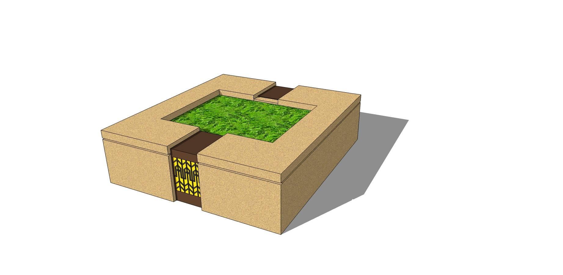 中国风石质矩形种植池座椅模型