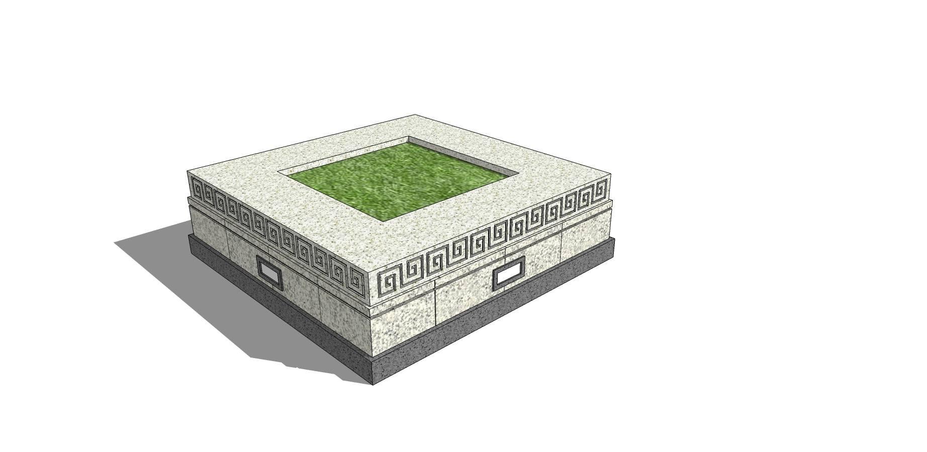 中式石质雕花种植池座椅模型素材