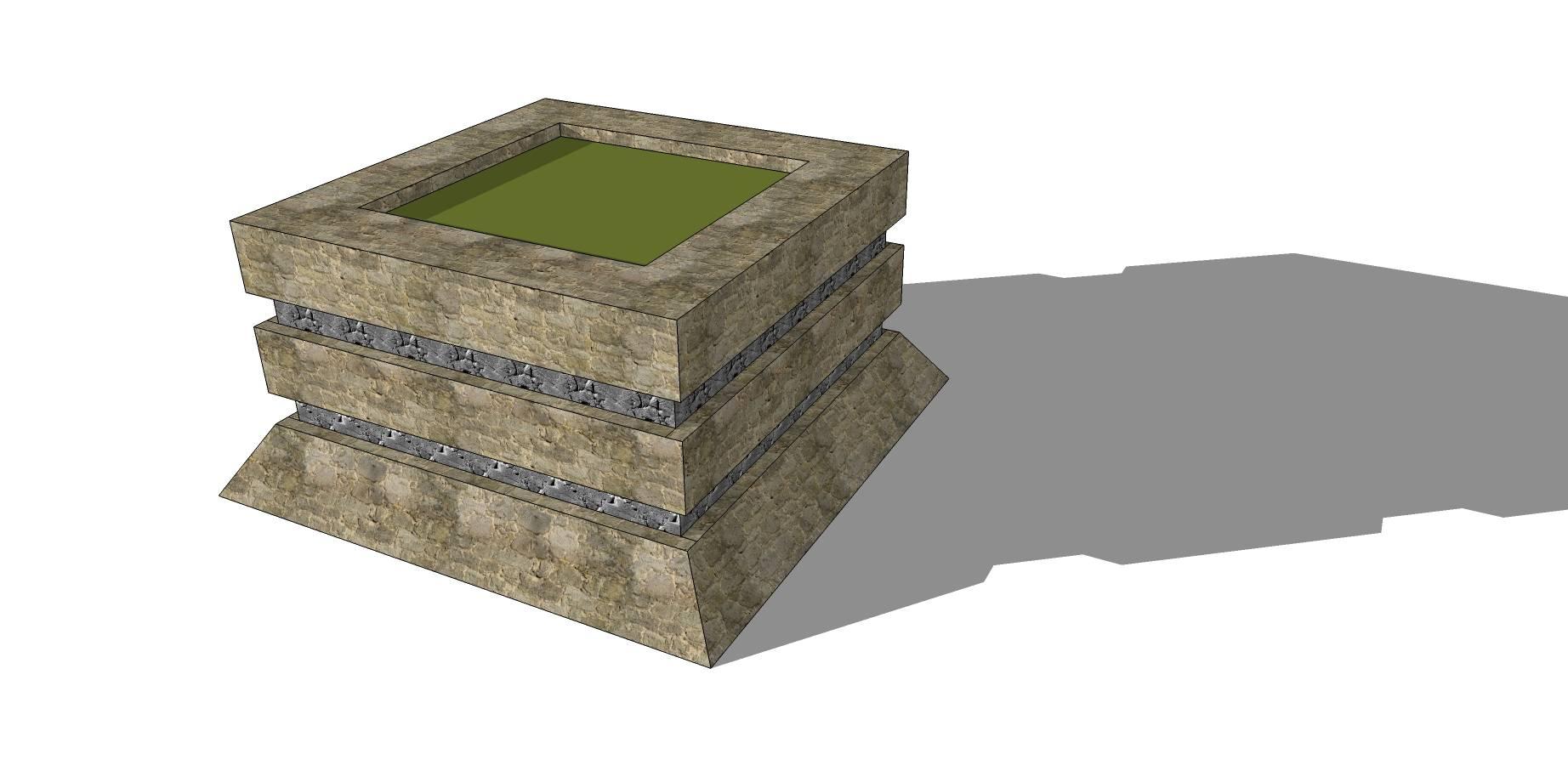 矩形石质种植池sketchup模型素材