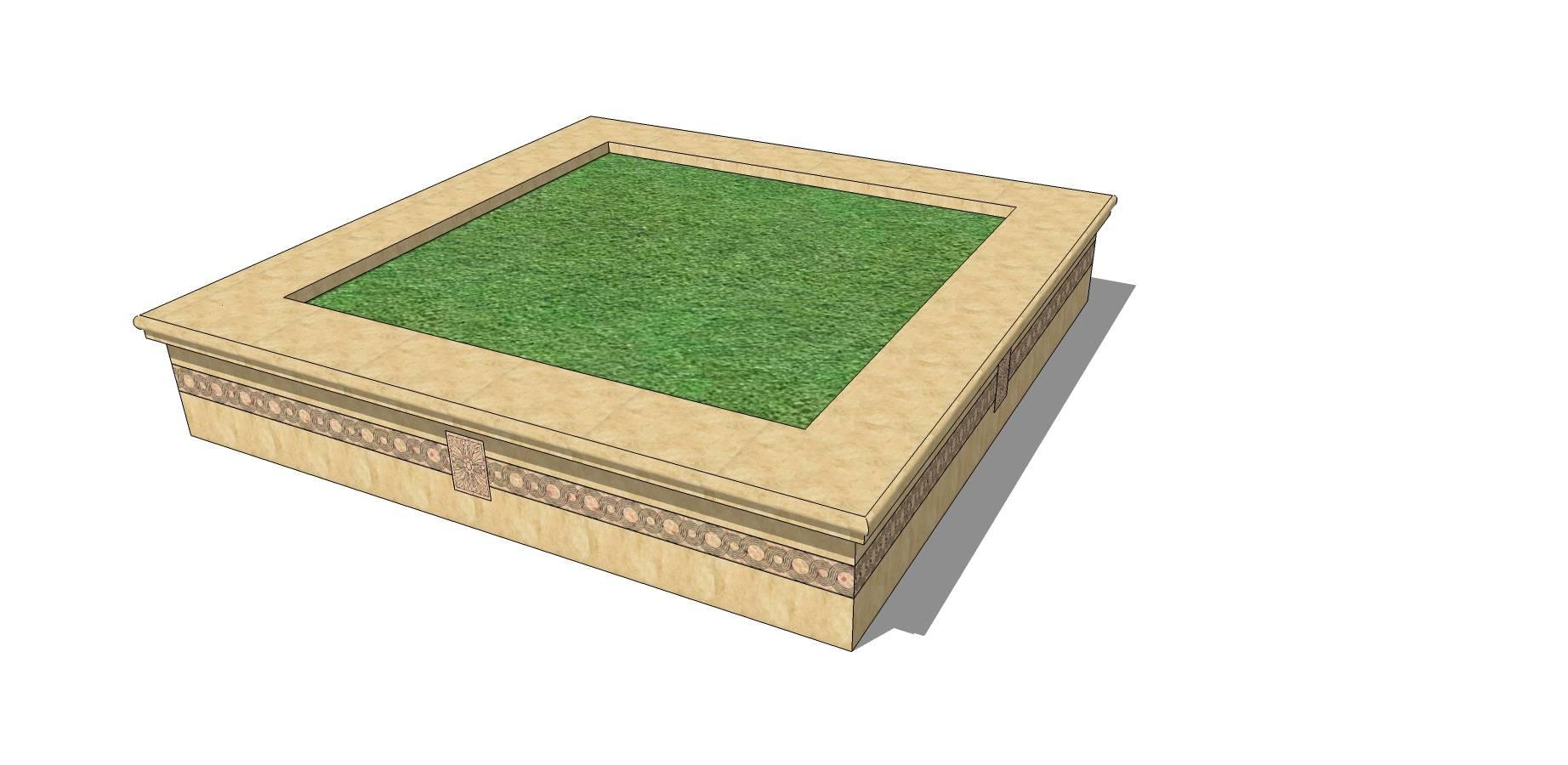 矩形树池坐凳sketchup模型素材