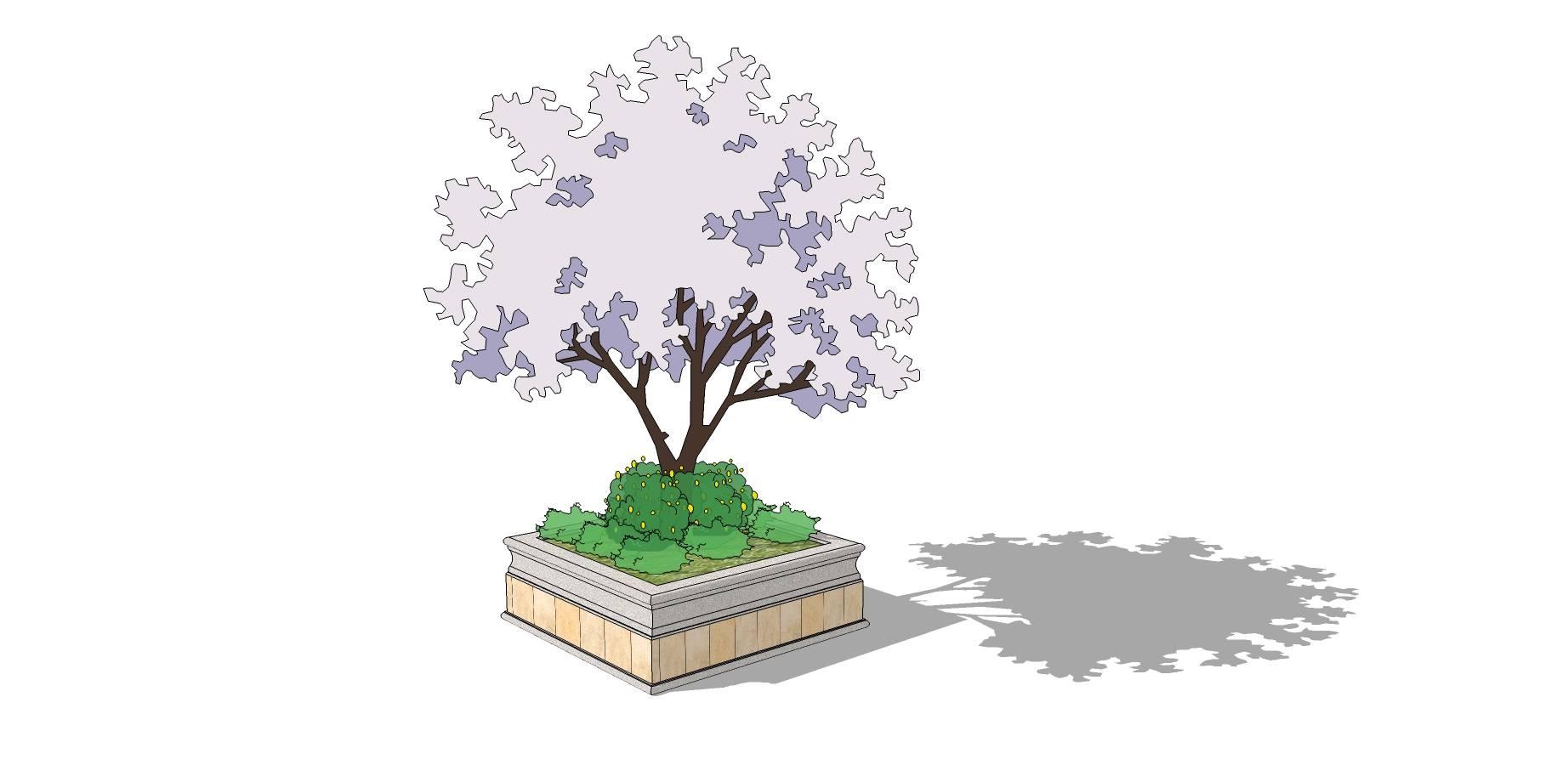 欧式简约矩形种植池sketchup模型素材