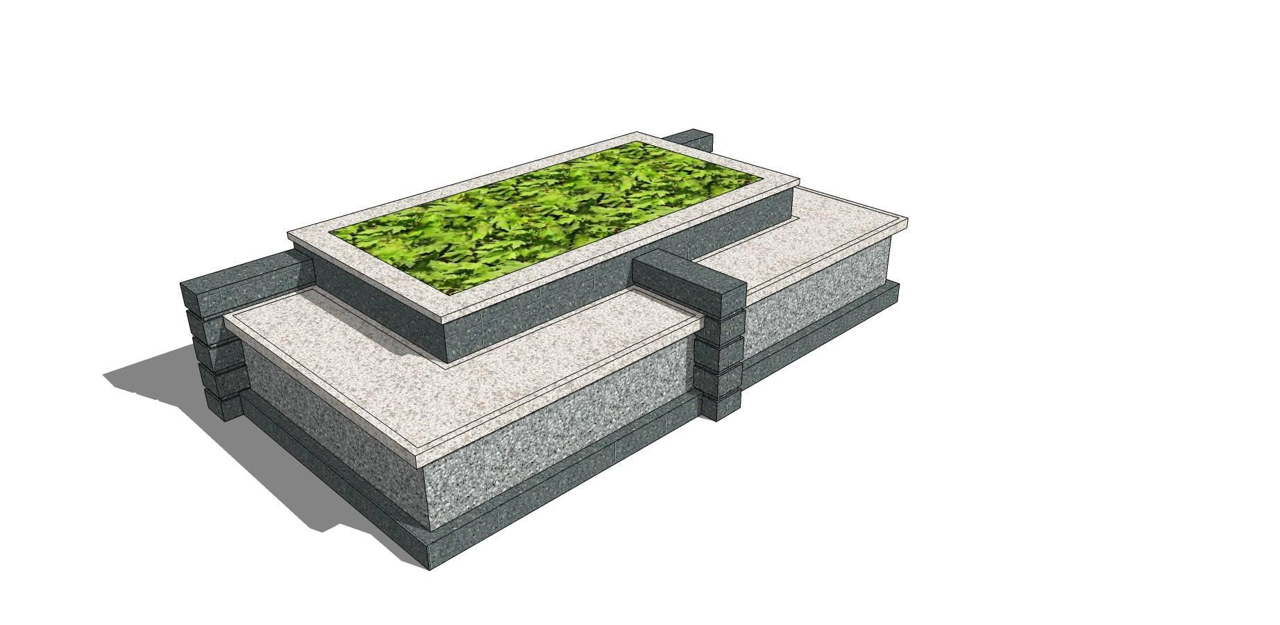 矩形创意树池座椅sketchup模型素材