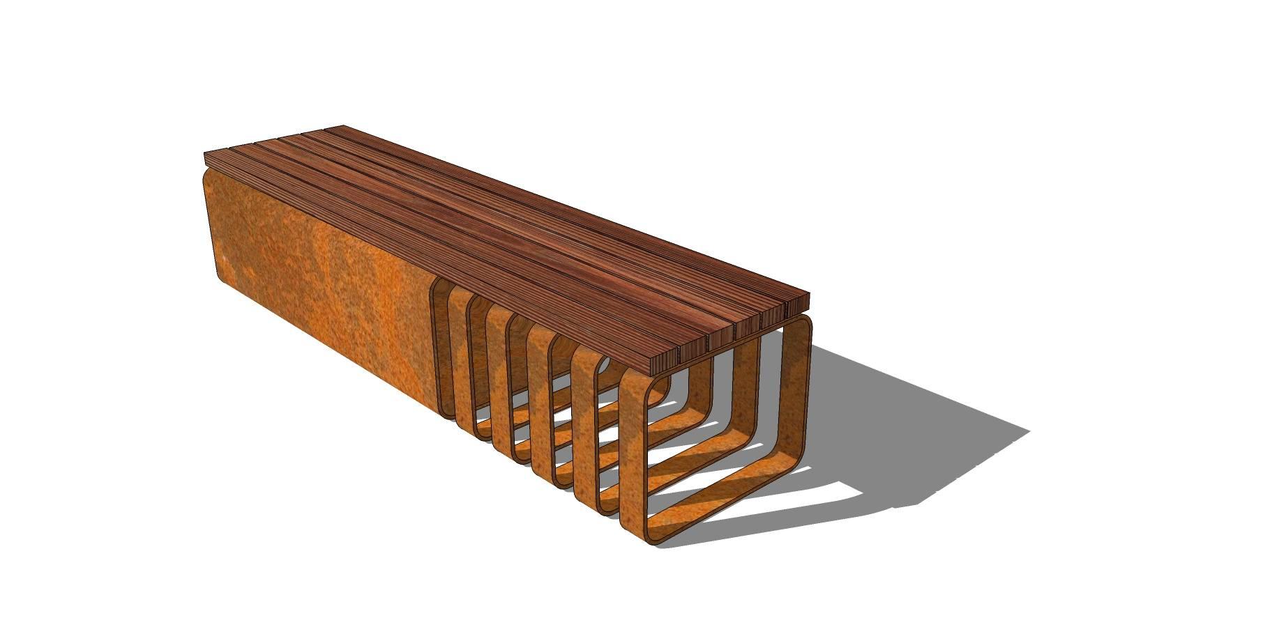 木质镂空长凳sketchup模型素材