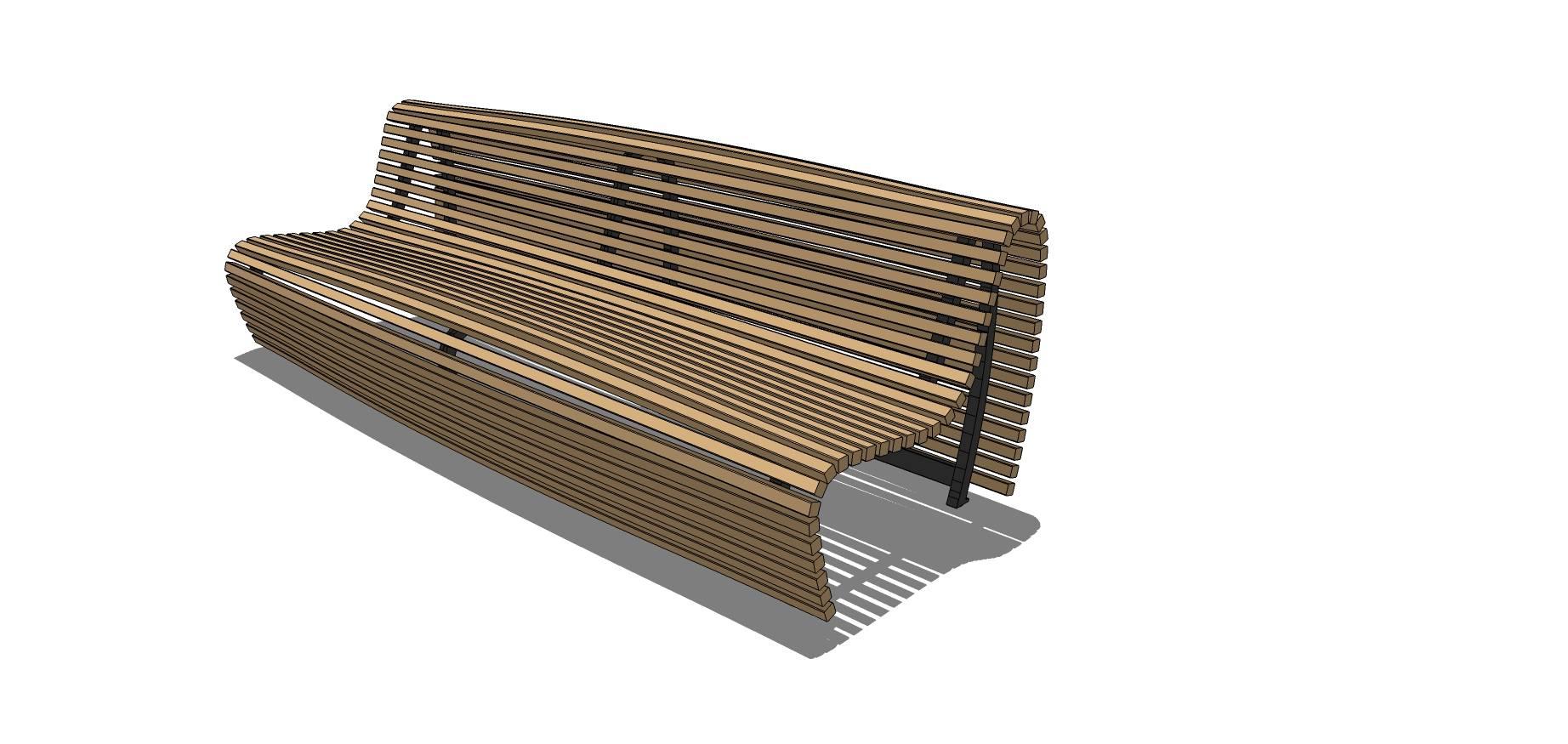 木质镂空长椅SU模型素材