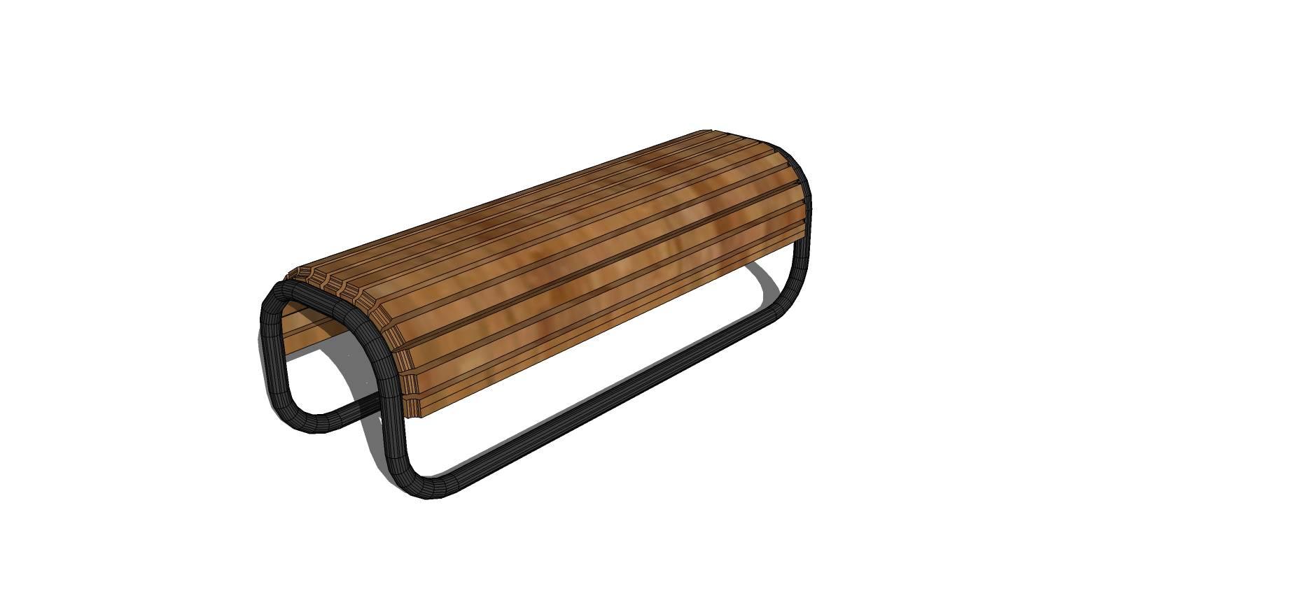 木质弧形长凳SU模型