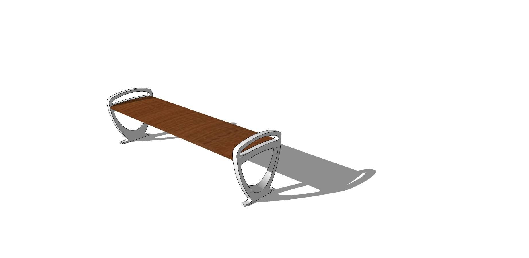 户外木质长凳sketchup模型素材