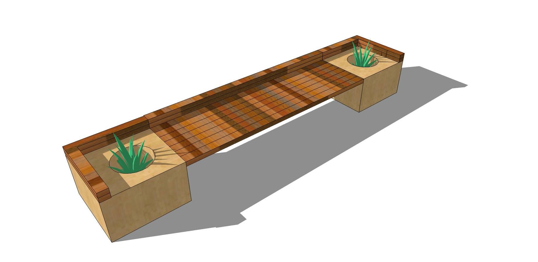 条形木质长凳sketchup模型