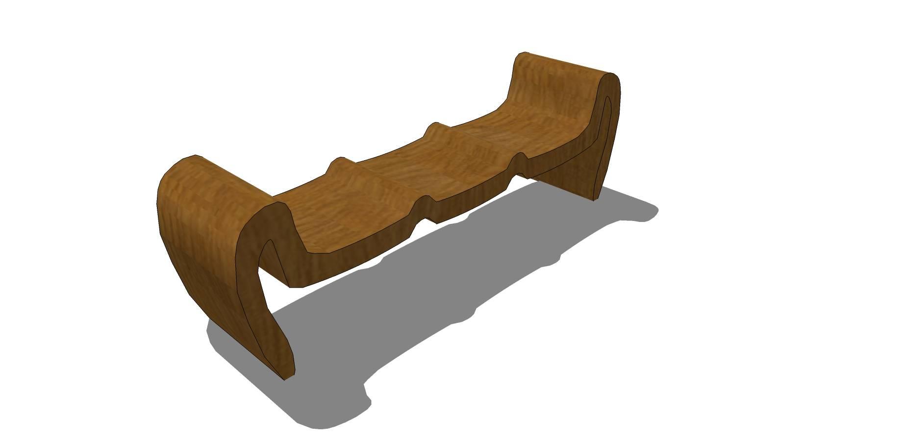 山形木质坐凳sketchup模型素材