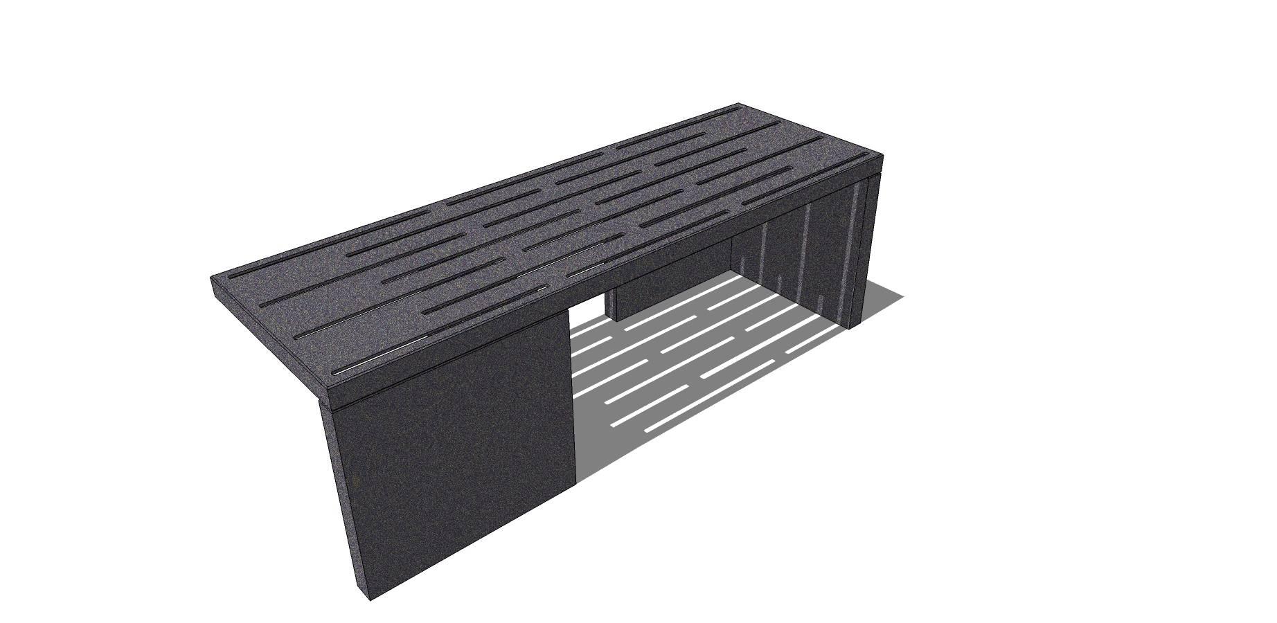 现代简约灰色户外石质坐凳模型