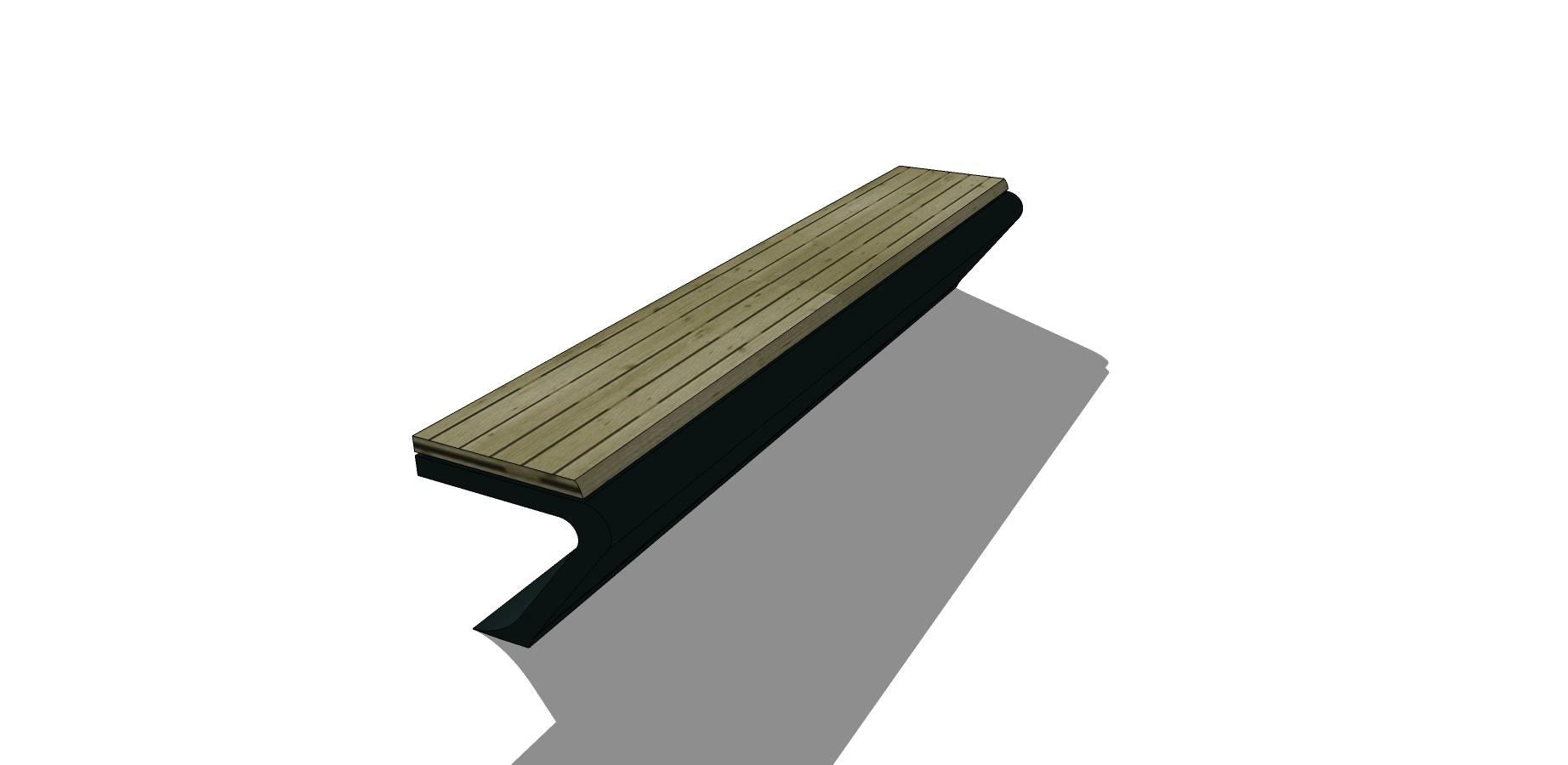 绿色简约条形长凳座椅SU模型